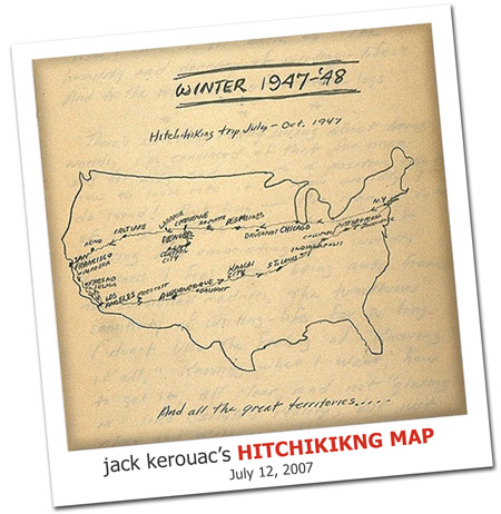 2007.07.12 Kerouac's Hitchhiking Map