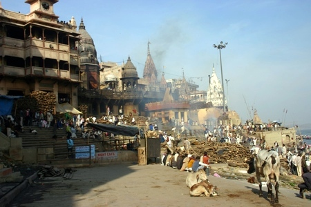 Manikarnika Ghat, the main burning ghat